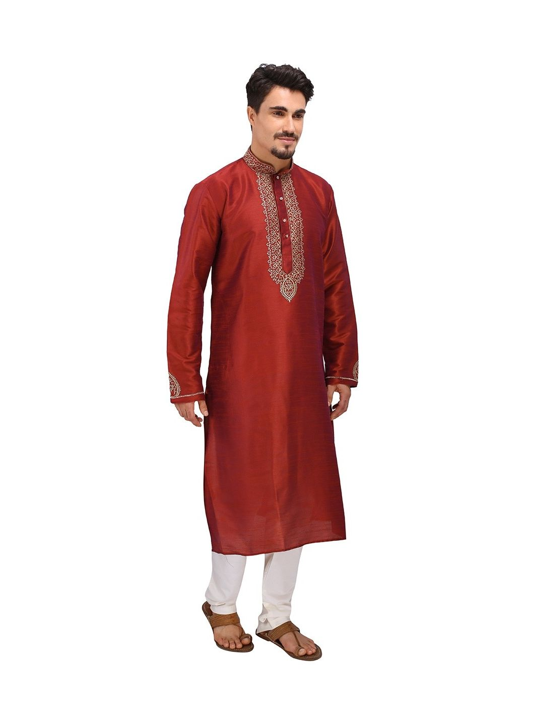 Red Embroidered Silk Kurta Churidar