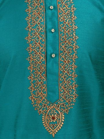 Teal Green Embroidered Silk Kurta Churidar Set