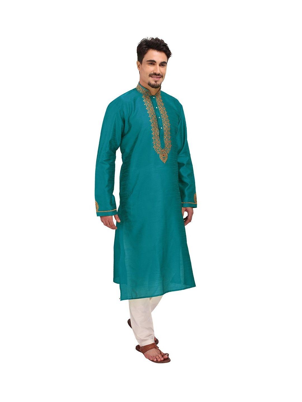 Teal Green Embroidered Silk Kurta Churidar Set