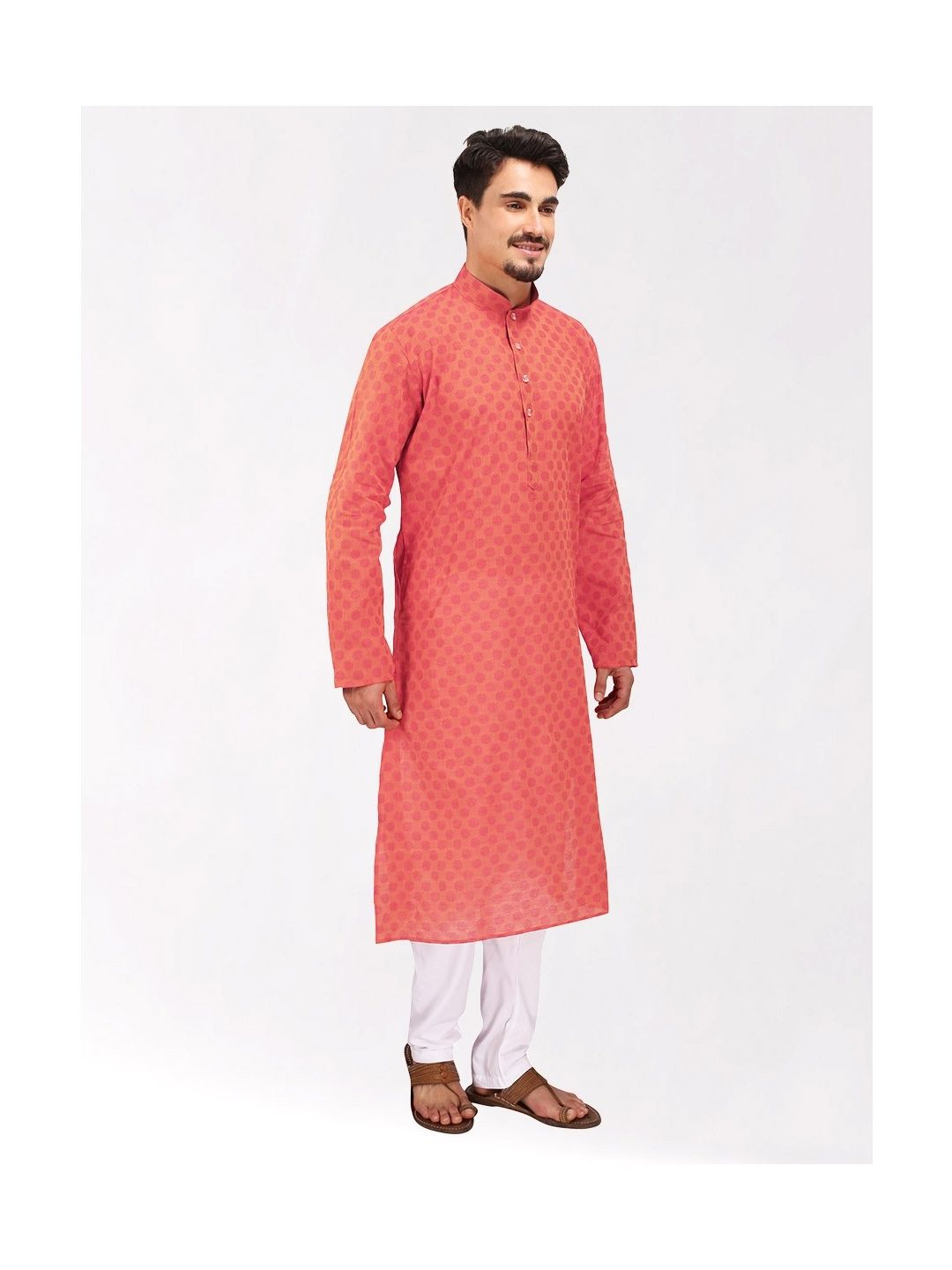 Coral Red Handloom Dobby Cotton Kurta