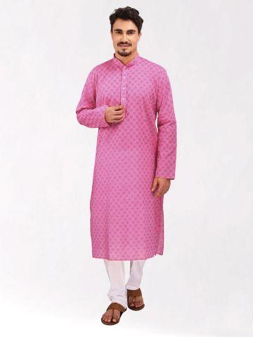 Pink Handloom Dobby Cotton Kurta
