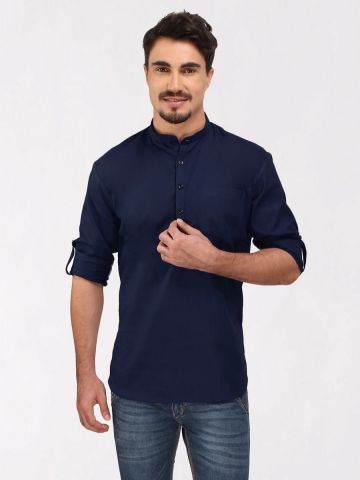 Navy Blue Roll Up Sleeve Cotton Short Kurta