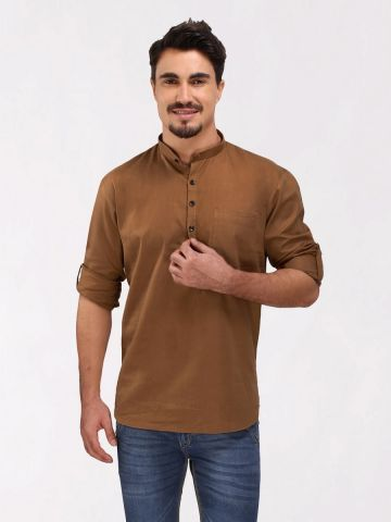Gold Brown Roll Up Sleeve Cotton Short Kurta