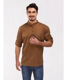 Gold Brown Roll Up Sleeve Cotton Short Kurta