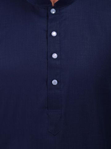 Navy Blue Satin Cotton Long Kurta