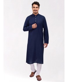 Navy Blue Tussar Cotton Kurta