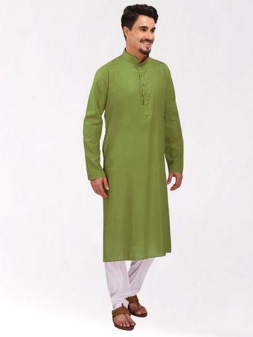 Green Tussar Cotton Kurta