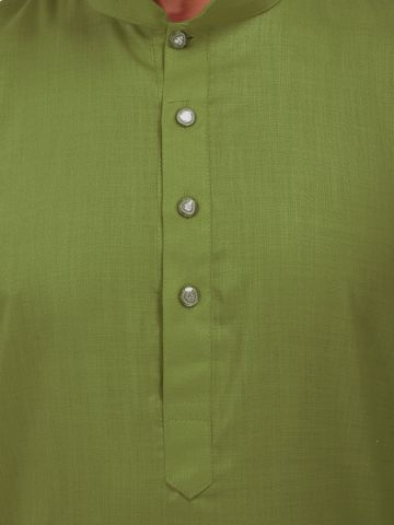 Green Tussar Cotton Kurta