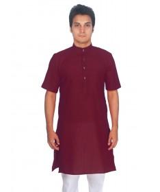 Maroon Tussar Cotton Kurta (Half Sleeve)