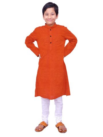Boys Deep Orange Handloom Dobby Cotton Kurta