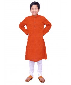 Boys Deep Orange Handloom Dobby Cotton Kurta