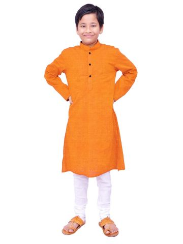 Boys Orange Handloom Dobby Cotton Kurta