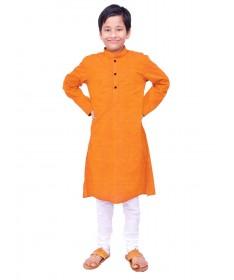 Boys Orange Handloom Dobby Cotton Kurta