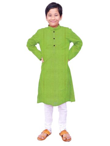 Boys Green Handloom Dobby Cotton Kurta