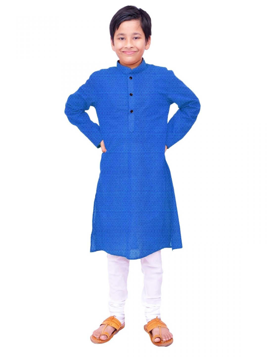 Boys Blue Handloom Dobby Cotton Kurta