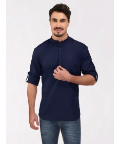 Navy Blue Roll Up Sleeve Linen Short Kurta