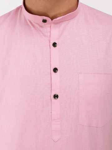 Pink Roll Up Sleeve Linen Short Kurta