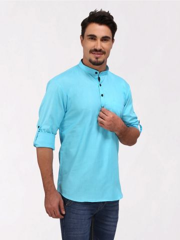 Sky Blue Roll Up Sleeve Linen Short Kurta