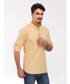 Beige Roll Up Sleeve Linen Short Kurta