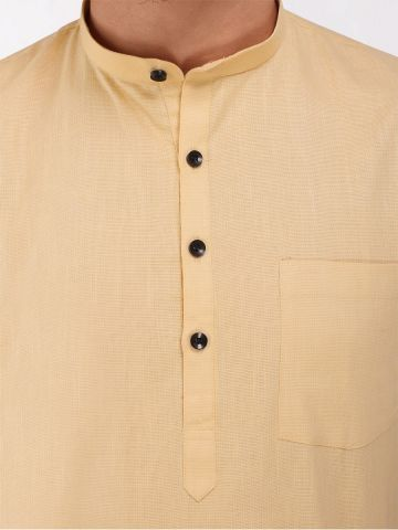Beige Roll Up Sleeve Linen Short Kurta