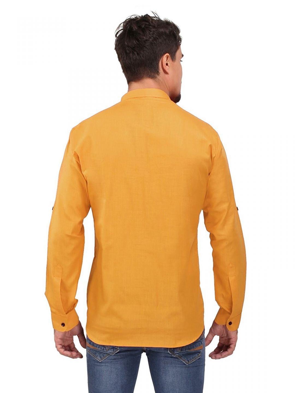 Rust Orange Roll Up Sleeve Linen Short Kurta