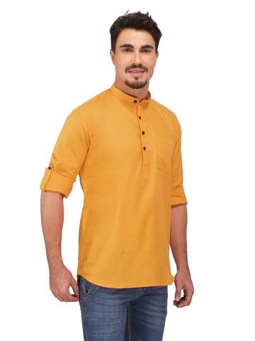 Rust Orange Roll Up Sleeve Linen Short Kurta