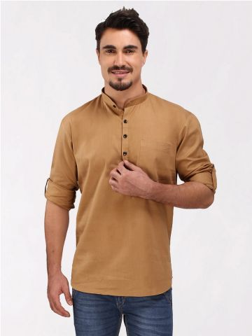 Gold Roll Up Sleeve Linen Short Kurta