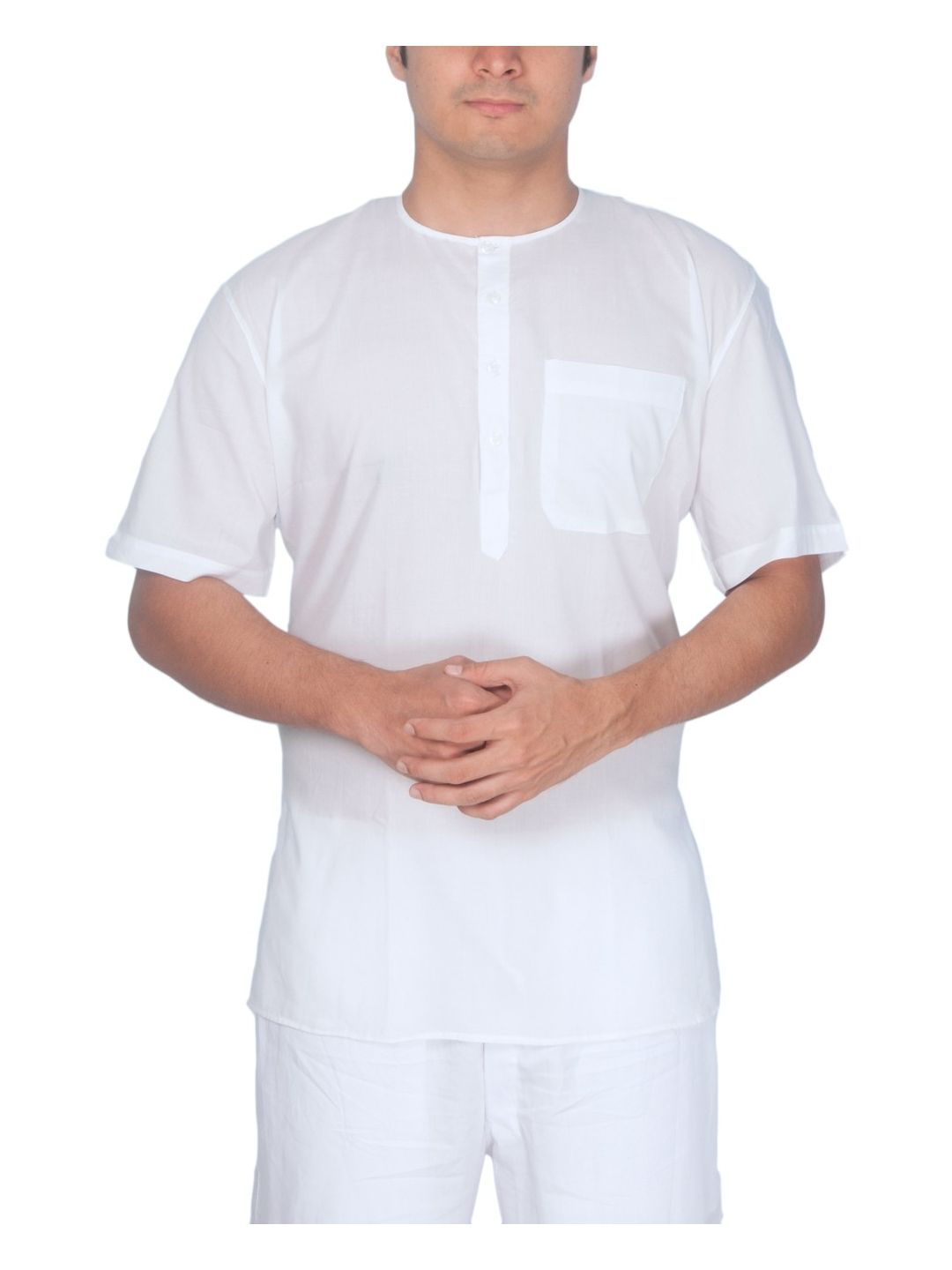 White SuperFine Cotton Short Kurta (Pehran)