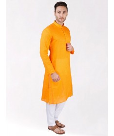Yellow Self Design Handloom Cotton Kurta