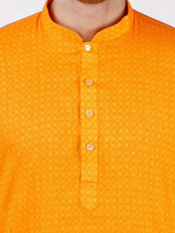 Yellow Self Design Handloom Cotton Kurta
