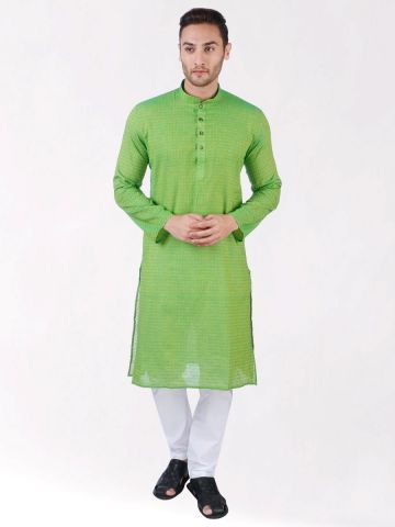 Green Self Design Handloom Cotton Kurta