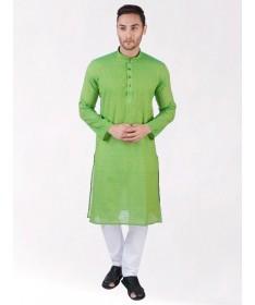 Green Self Design Handloom Cotton Kurta