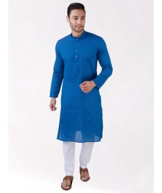 Blue Self Design Handloom Cotton Kurta
