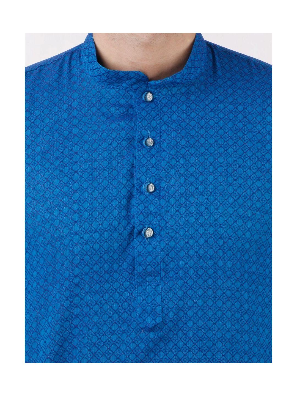 Blue Self Design Handloom Cotton Kurta