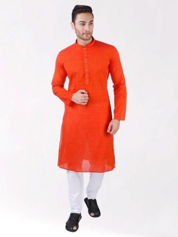 Orange Handoom Dobby Cotton Kurta
