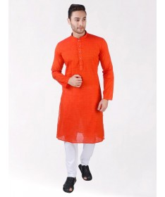 Orange Self Design Handloom Cotton Kurta