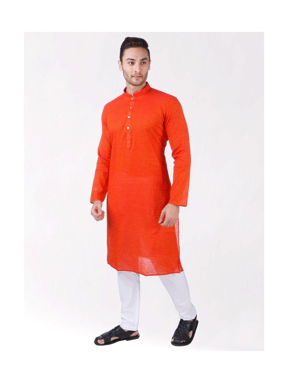 Orange Handoom Dobby Cotton Kurta