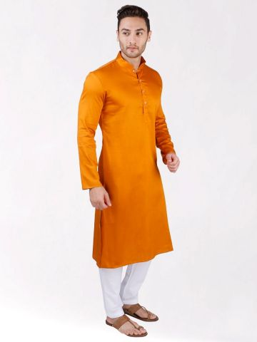 Rust Orange Satin Cotton Kurta