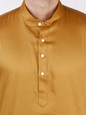 Gold Satin Cotton Kurta