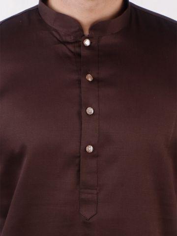 Dark Brown Satin Cotton Kurta