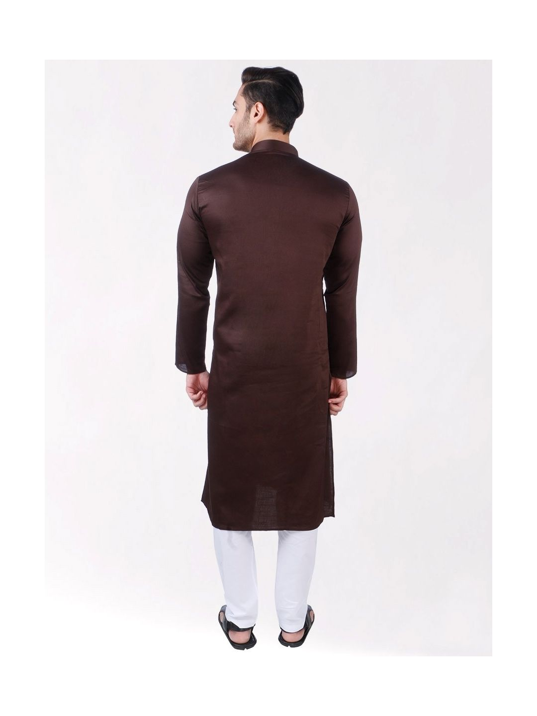 Dark Brown Satin Cotton Kurta