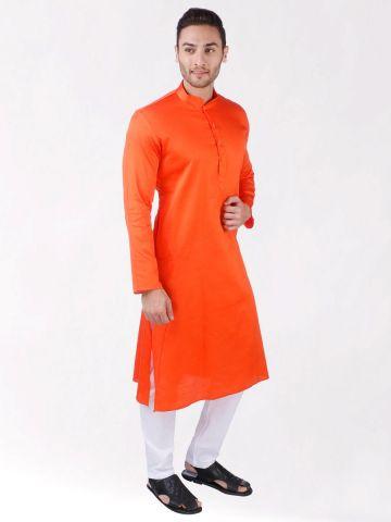 Orange Satin Cotton Kurta