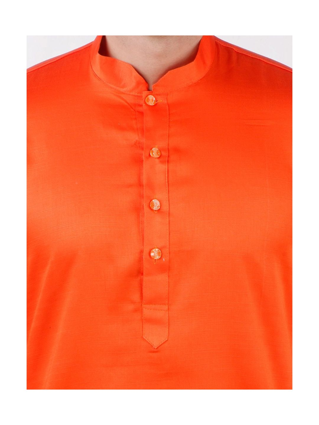 Orange Satin Cotton Kurta