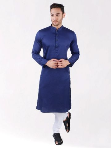 Navy Blue Satin Cotton Kurta