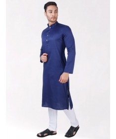Navy Blue Satin Cotton Kurta