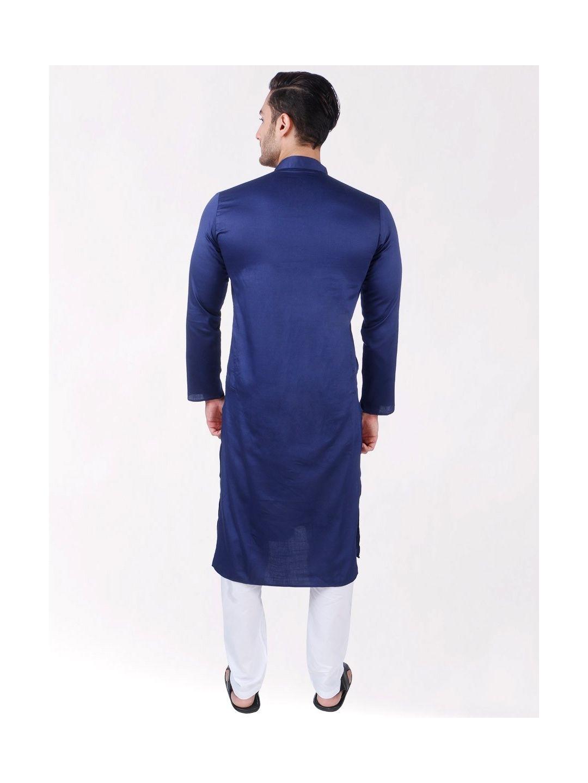 Navy Blue Satin Cotton Long Kurta