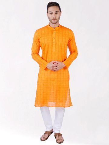 Yellow Woven Checks Design Handloom Cotton Kurta