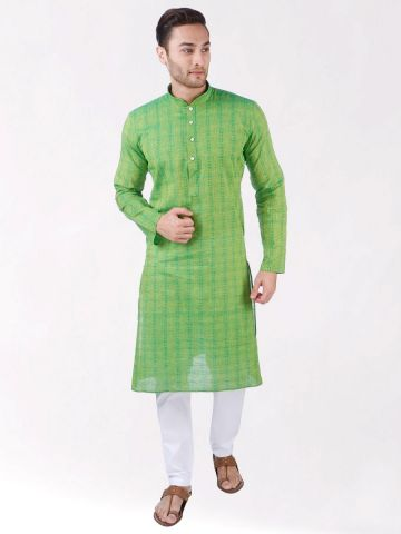 Green Woven Checks Design Handloom Cotton Kurta