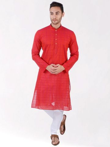 Red Self Design Handloom Cotton Kurta
