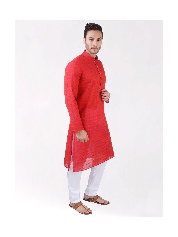 Red Self Design Handloom Cotton Kurta